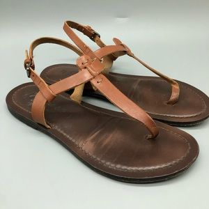Matisse light brown leather ankle strap sandals